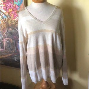 Tommy Hilfiger Tan Striped Sweater Sz. XL